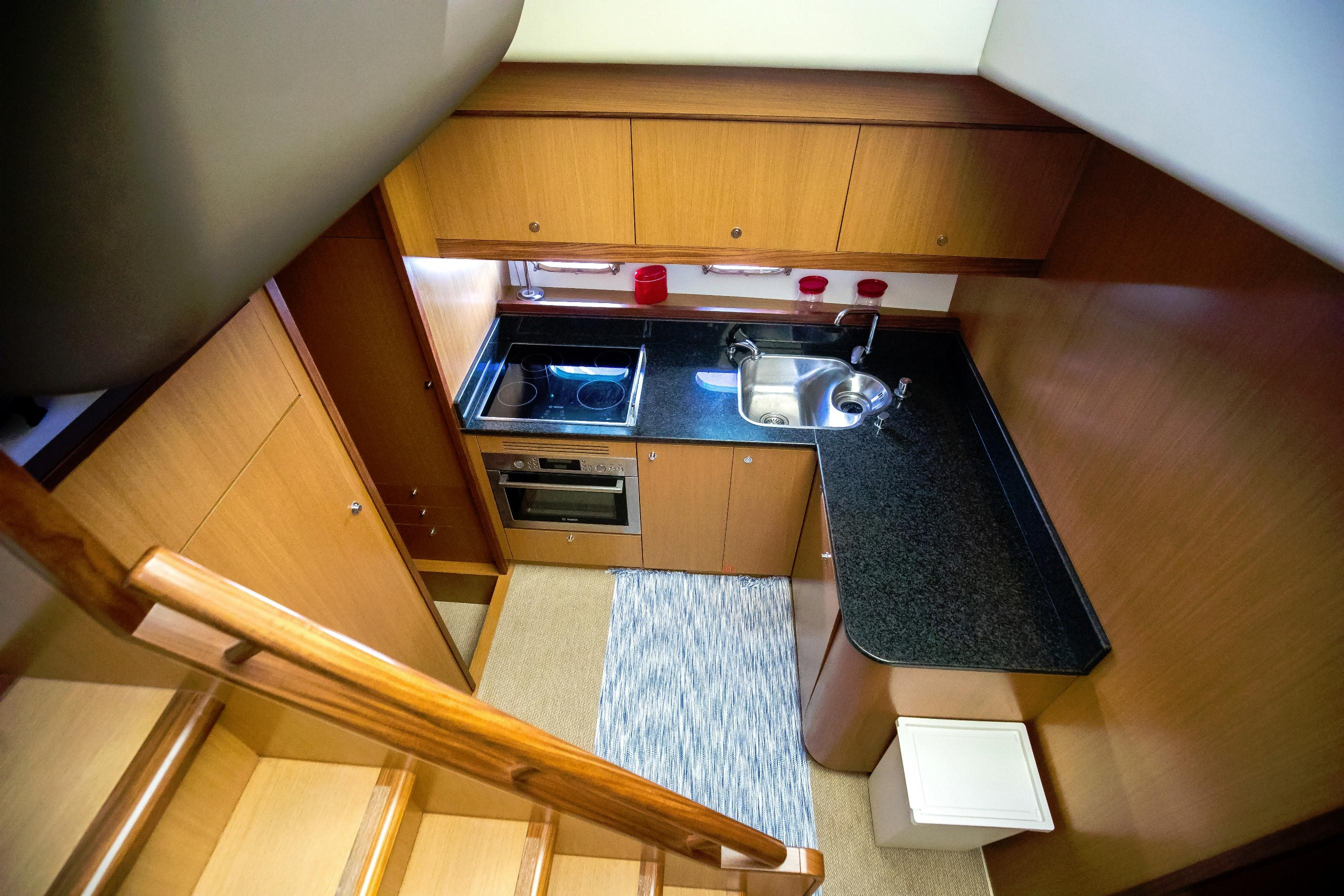 Stairs down to galley and cabin area