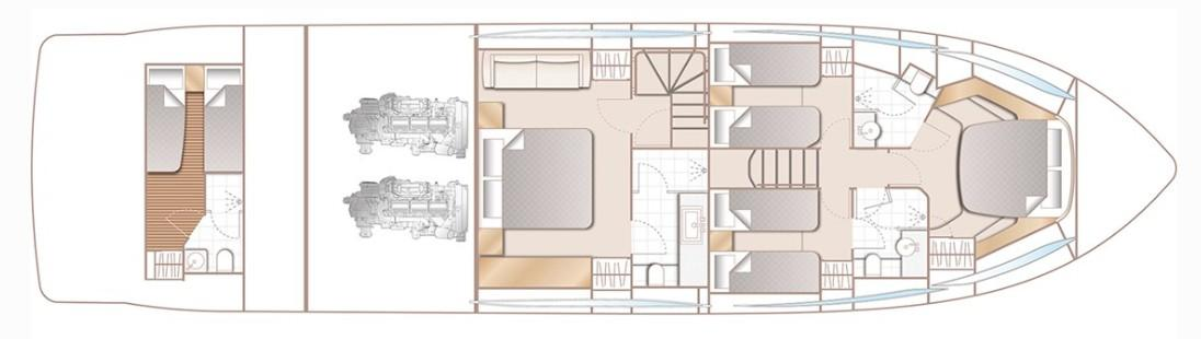 Manufacturer Provided Image: Princess F70 Lower Deck Layout Plan