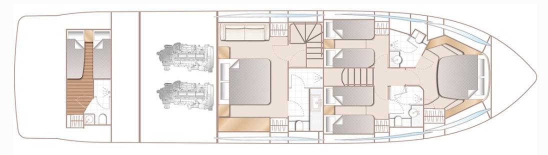 Manufacturer Provided Image: Princess F70 Lower Deck Layout Plan