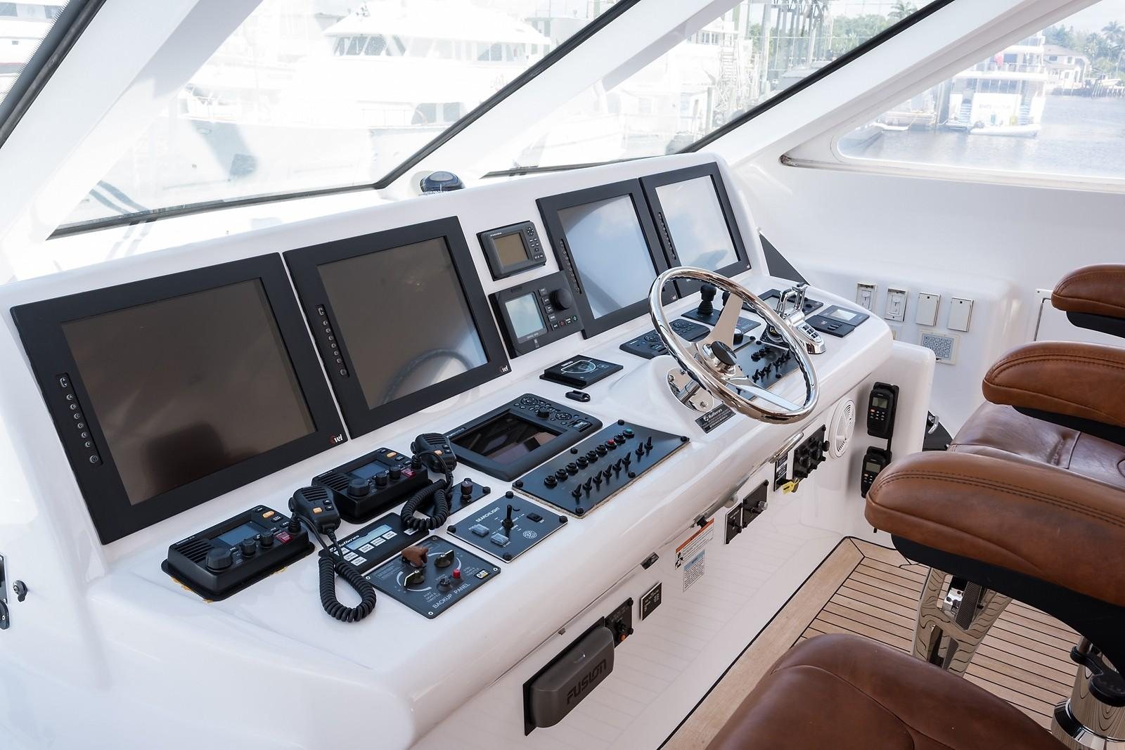 72 ft Hatteras 72 Motor Yacht Helm Electronics to Starboard