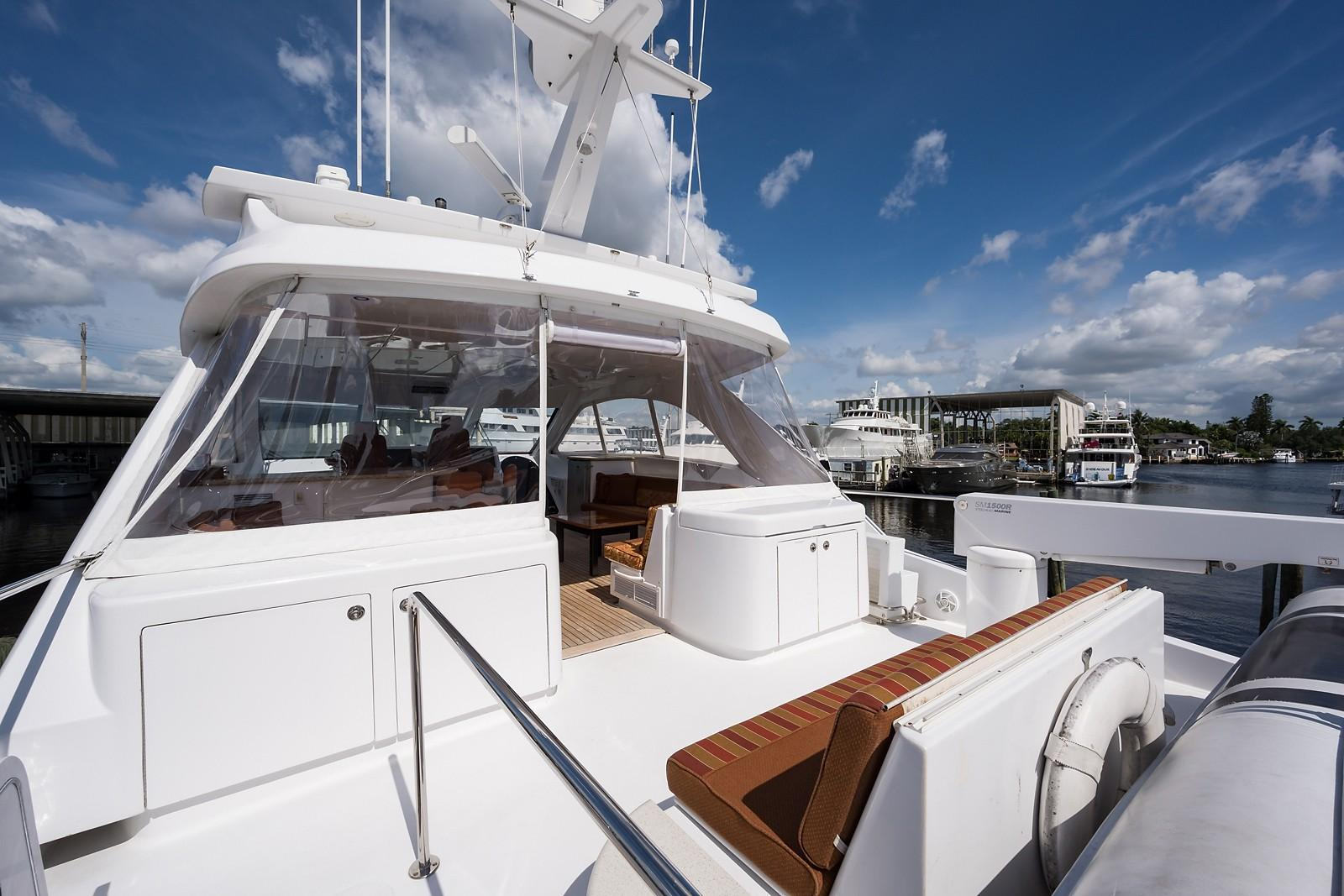 72 ft Hatteras 72 Motor Yacht Boat Deck Forward to Starboard