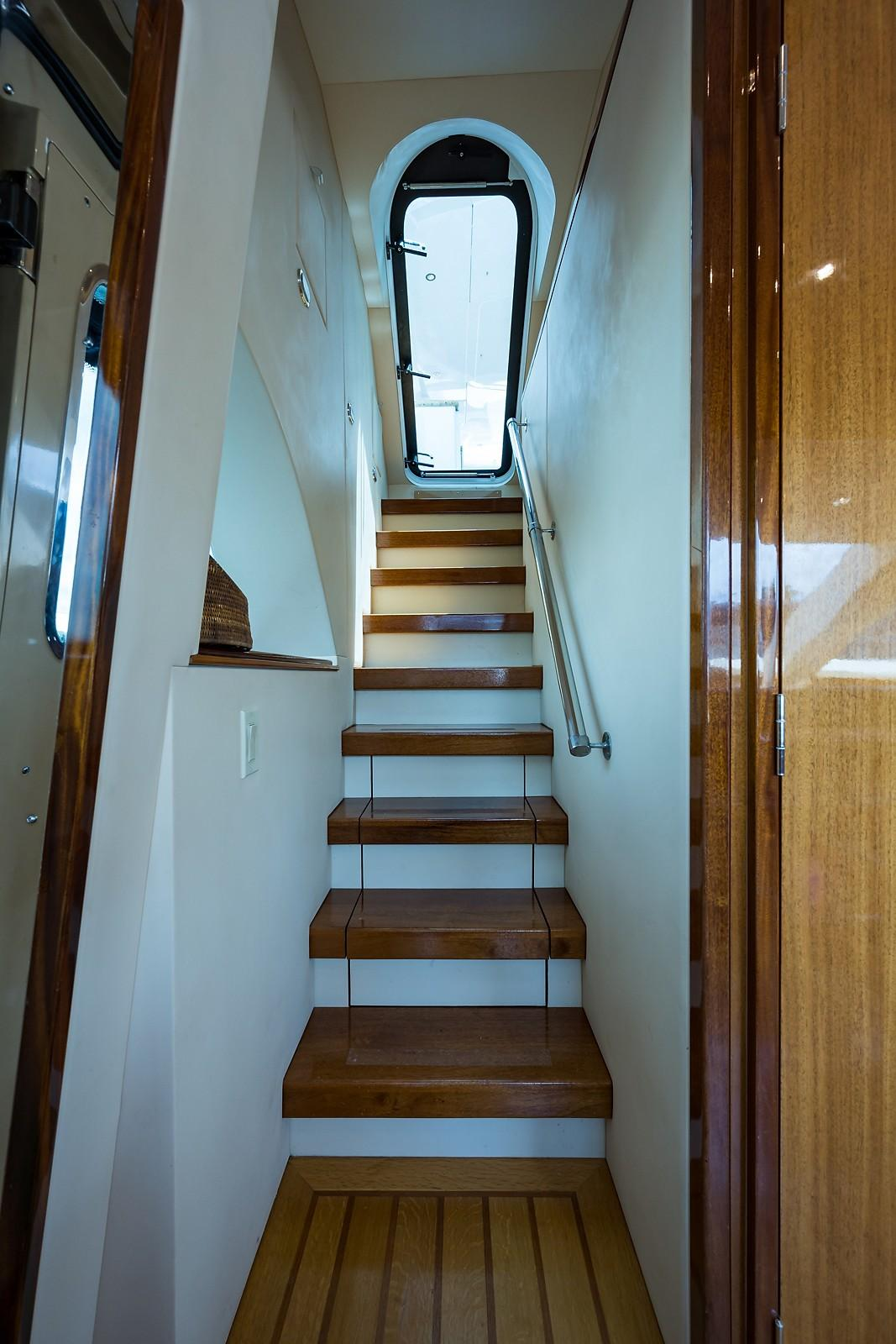 72 ft Hatteras 72 Motor Yacht Galley Stairs to Flybridge