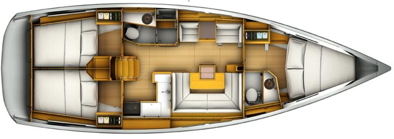 Three cabin, 2 head layout.
