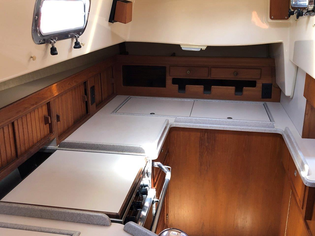 Galley counter, top-loading refrigerator and freezer