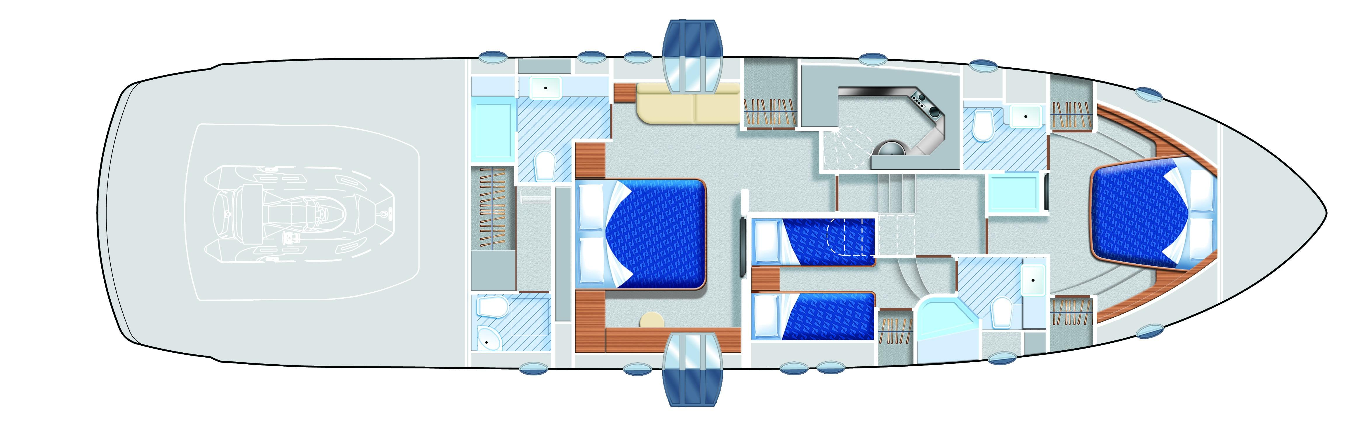Manufacturer Provided Image: Pershing 64 Lower Deck Layout Plan
