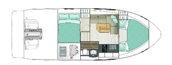 Sealine S330 Lower Deck Layout Plan