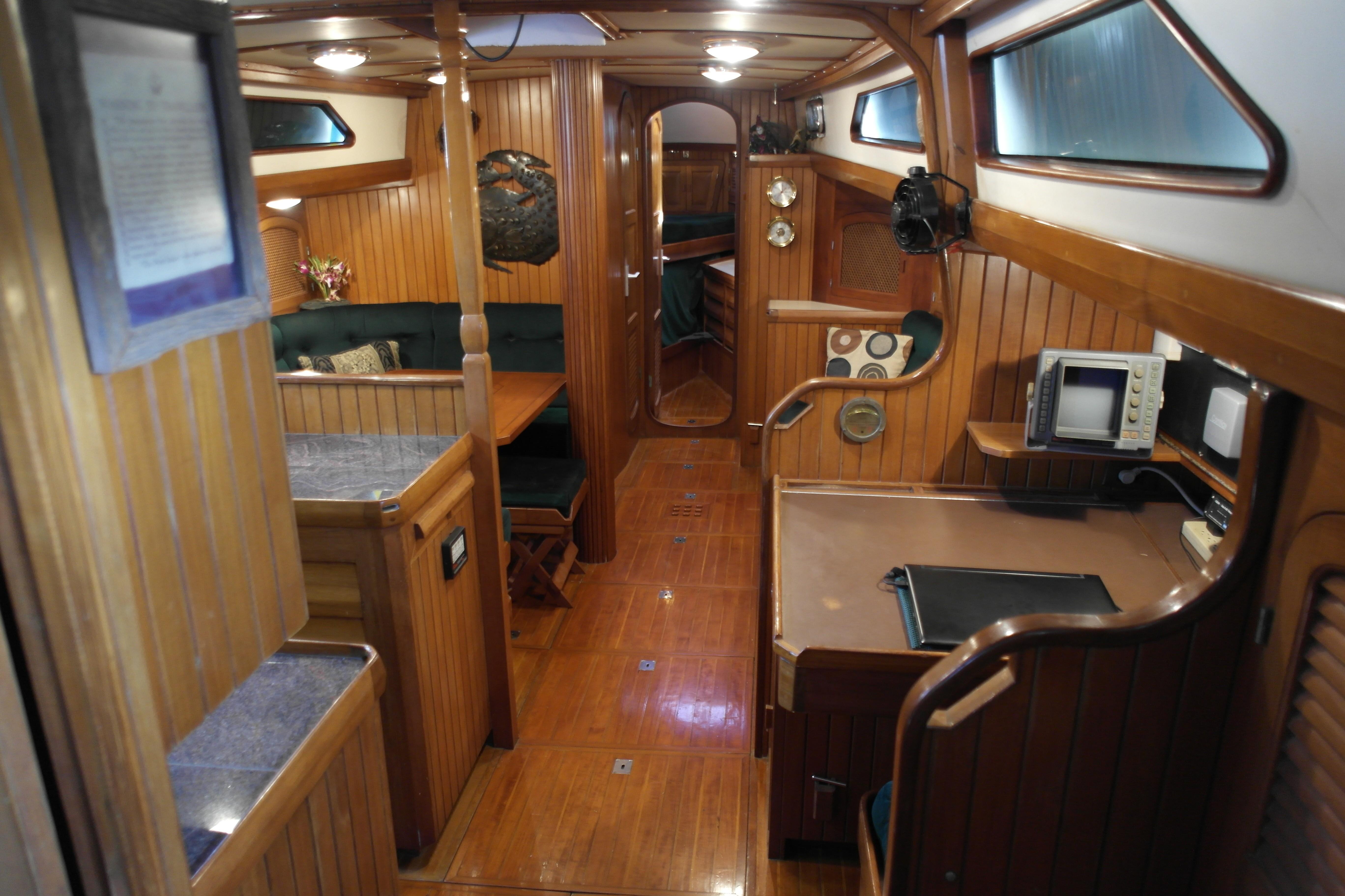 Slocum 43 teak interior