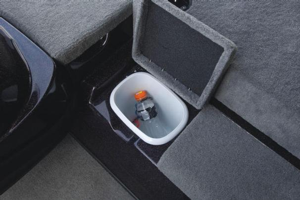 Manufacturer Provided Image: The step to the bow deck conceals a convenient trash receptacle.