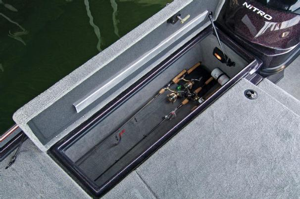 Manufacturer Provided Image: The starboard locker in the bow deck can be used for gear or to secure more rods.