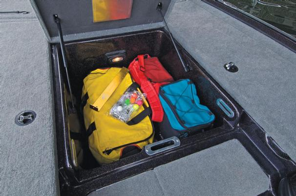 Manufacturer Provided Image: The huge, center bow storage compartment has a light and lid assists.